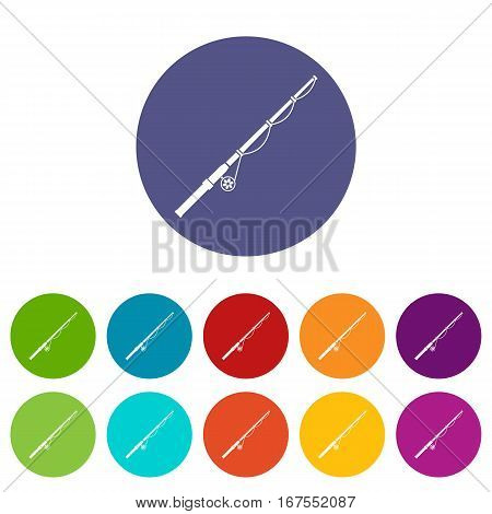 Rod and reel set icons in different colors isolated on white background
