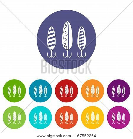 Plastic fishing lure set icons in different colors isolated on white background