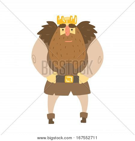 Barbarian King With Animal Pelt On Shoulders Standing Fairy-Tale Cartoon Childish Character. Monarch From Kids Stories With The Crown Cute Portrait Vector Illustration