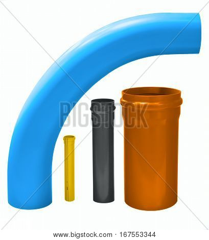 PVC plastic pipe different diameters and different color for water supply and sewerage