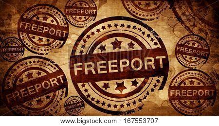 freeport, vintage stamp on paper background