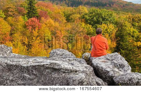 Red autumn leaves across Dolly Sods Wilderness area in West Virginia with hiker admiring the view