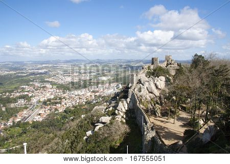 The Stone Staircase Of Sintra Castle Of The Moors, Portugal