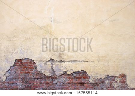 Old Brick Wall With Peeling Plaster, Grunge Background