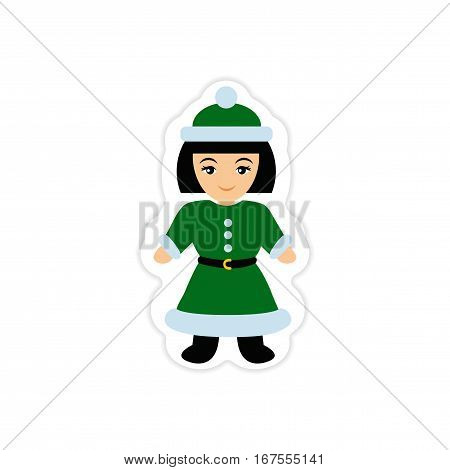 paper sticker on white background Girl dressed as Santa