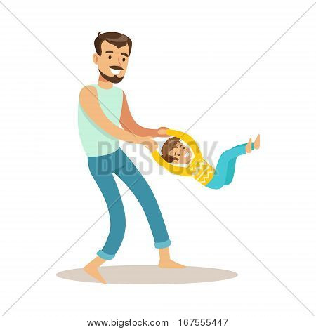 Dad Giving A Swing To His Son, Loving Father Enjoying Good Quality Daddy Time With Happy Kid. Child And Parent Having Fun Together Vector Cartoon Illustration.