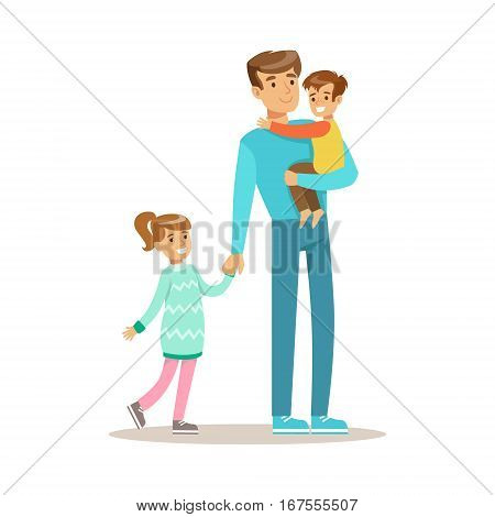 Dad With Son And Daughter, Loving Father Enjoying Good Quality Daddy Time With Happy Kid. Child And Parent Having Fun Together Vector Cartoon Illustration.