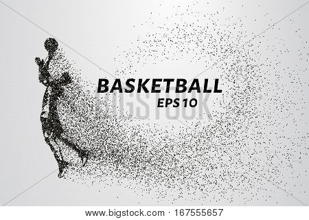Basketball of the particles. Basketball player silhouette consists of circles and points. Vector illustration.
