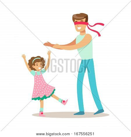 Dad Playing Hide And Seek With Daughter, Loving Father Enjoying Good Quality Daddy Time With Happy Kid. Child And Parent Having Fun Together Vector Cartoon Illustration.