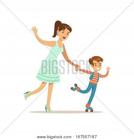 Mom And Son Roller Skating, Loving Mother Enjoying Good Quality Mommy Time With Happy Kid. Child And Parent Having Fun Together Vector Cartoon Illustration.