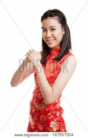 Asian Girl In Chinese Cheongsam Dress With Gesture Of Congratulation.
