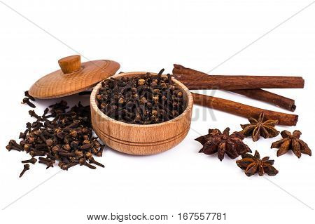 Fragrant spices used for cooking. Studio Photo
