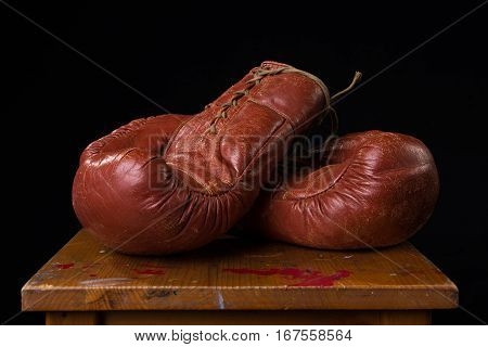 Pair of brown vintage leather box gloves
