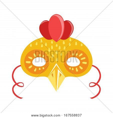 Chicken Animal Head Mask, Kids Carnival Disguise Costume Element. Children Masquerade Party Paper Mask Colorful Cartoon Vector Illustration.