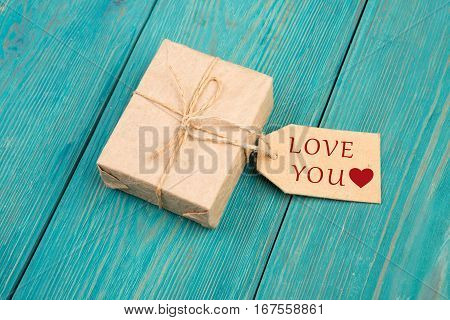 Gift Box And Tag With Text