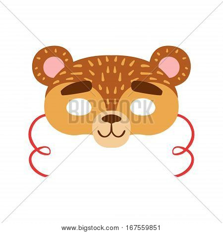 Brown Bear Animal Head Mask, Kids Carnival Disguise Costume Element. Children Masquerade Party Paper Mask Colorful Cartoon Vector Illustration.