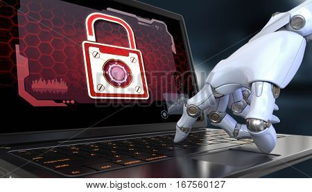 Data Protection. Robot hand over the keyboard laptop.
