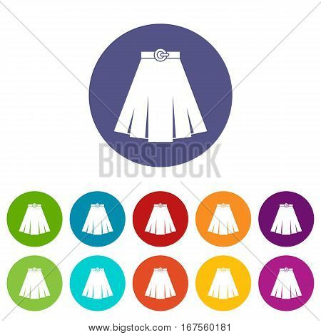 Skirt set icons in different colors isolated on white background