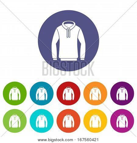 Hoody set icons in different colors isolated on white background