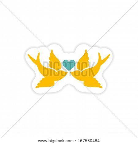 paper sticker on white background birds heart