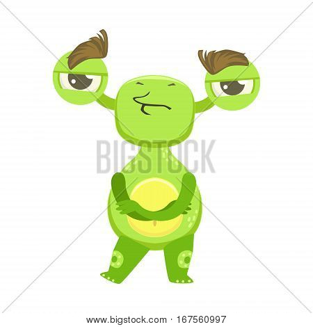 Stubborn Funny Monster Standing With Arms Crossed, Green Alien Emoji Cartoon Character Sticker. Cute Fantastic Creature Emoticon Flat Vector Illustration