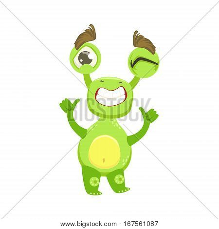 Cool Funny Monster Teethy Smile, Green Alien Emoji Cartoon Character Sticker. Cute Fantastic Creature Emoticon Flat Vector Illustration