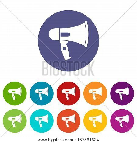 Mouthpiece set icons in different colors isolated on white background