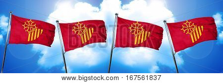 Languedoc rousillon flag, 3D rendering