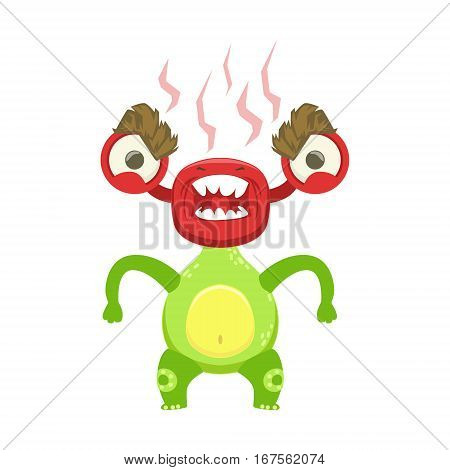 Funny Monster Fuming With Rage, Green Alien Emoji Cartoon Character Sticker. Cute Fantastic Creature Emoticon Flat Vector Illustration
