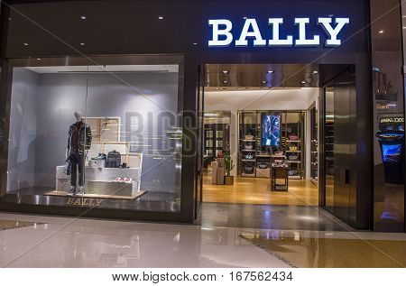 LAS VEGAS - NOV 08 : Exterior of a Bally store in Las Vegas strip on November 08 2016. Bally is famous Swiss luxury brand existing since 1851.
