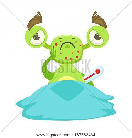 Sick Funny Monster With Fever In Bed, Green Alien Emoji Cartoon Character Sticker. Cute Fantastic Creature Emoticon Flat Vector Illustration