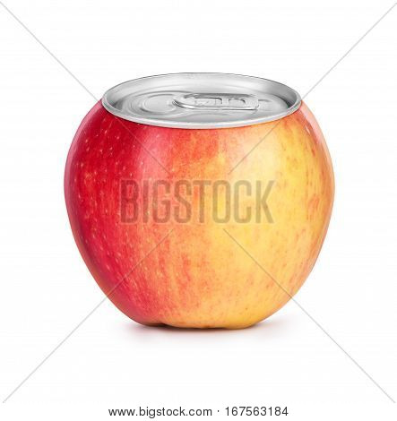 Fresh ripe apple juice canned isolated on white background. Concept image.