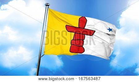 Nunavut territory flag, 3D rendering