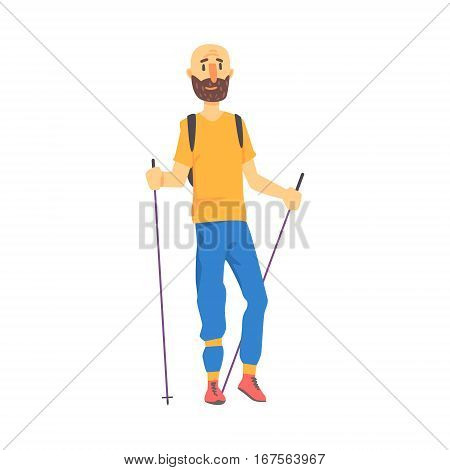 Blond Man In Shades Doing Nordic Walk Outdoors Illustration. Finnish Walking Outdoors Sportive Workout Cute Cartoon Vector Drawing.