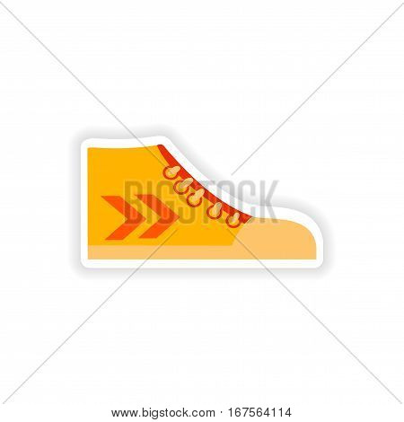 stylish paper sticker on white background gumshoes