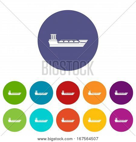 Oil tanker ship set icons in different colors isolated on white background