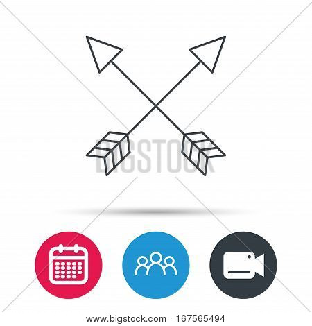 Bow arrows icon. Hunting sport equipment sign. Archer weapon symbol. Group of people, video cam and calendar icons. Vector