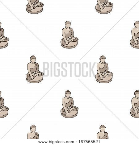Sitting Buddha icon in cartoon style isolated on white background. South Korea pattern vector illustration.