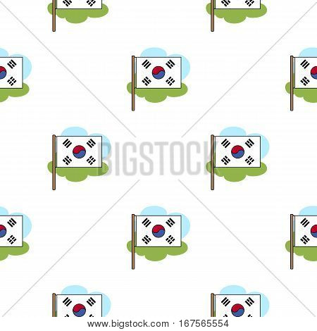 Flag of South Korea icon in cartoon style isolated on white background. South Korea pattern vector illustration.