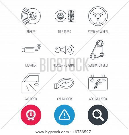 Achievement and search magnifier signs. Accumulator, brakes and steering wheel icons. Generator belt, klaxon signal and car mirror linear signs. Door icon. Hazard attention icon. Vector