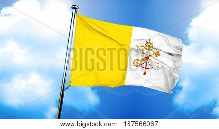papal state flag, 3D rendering
