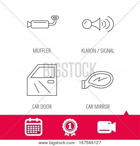 Achievement and video cam signs. Car door, muffler and klaxon signal icons. Car mirror linear sign. Calendar icon. Vector