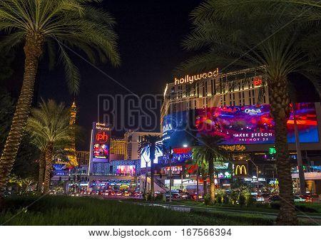 LAS VEGAS - NOV 24 : View of the strip in Las Vegas on November 24 2016. The Las Vegas Strip is an approximately 4.2-mile (6.8 km) stretch of Las Vegas Boulevard in Clark County Nevada.