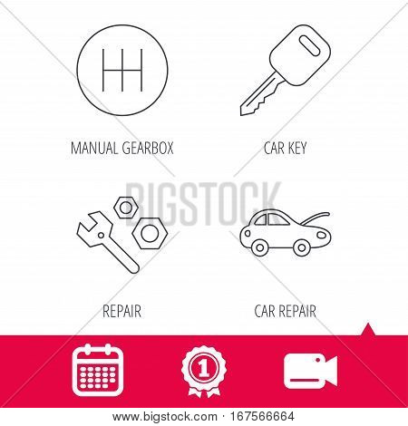 Achievement and video cam signs. Car key, repair tools and manual gearbox icons. Car repair, transmission linear signs. Calendar icon. Vector
