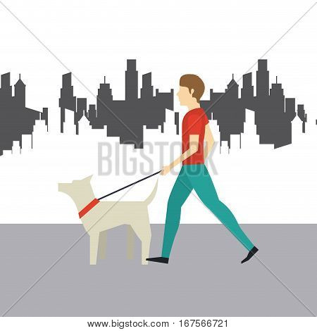man with a dog walking over city background. colorful design. vector illustration