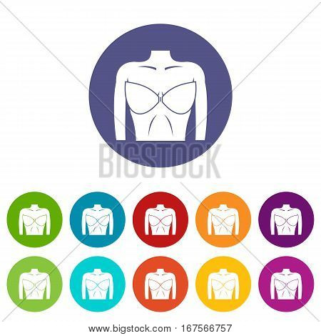 Female breast in a bra set icons in different colors isolated on white background