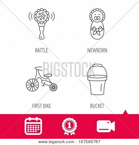 Achievement and video cam signs. Newborn, rattle and first bike icons. Newborn child, bucket linear signs. Calendar icon. Vector