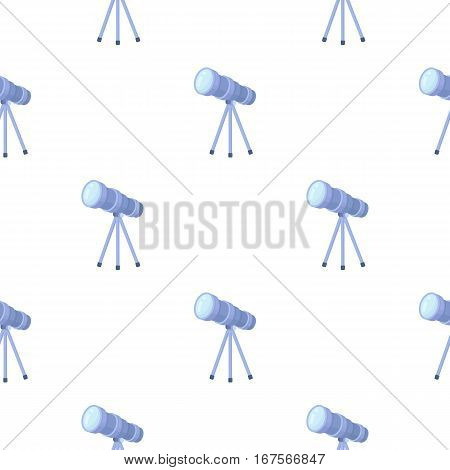 Telescope icon in cartoon style isolated on white background. Space pattern vector illustration.