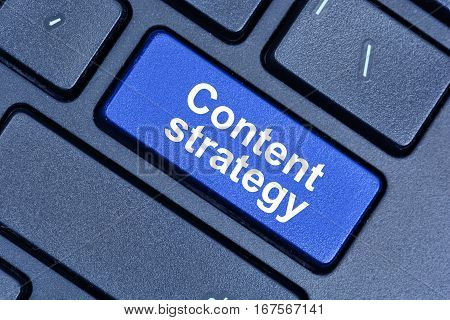 Content strategy words on keyboard button pc