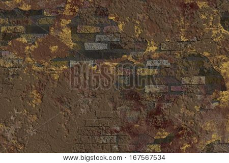 Yellow and brown smears on the texture of brick and plaster.